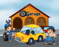 Two gentlemen with tools at the garage. Illustration of the two gentlemen with tools at the garage Royalty Free Stock Photography