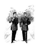Two gentlemen in uniform with walk leisurely chatting and smokin Stock Photo