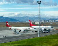Two Georgian airplanes Airzena airways are parked at airport. royalty free stock image