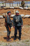 Two German soldiers-reenactors Royalty Free Stock Image
