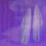 Two ghosts against textured background. Illustration of two ghosts in fog against a purple textured background. It can be used to visualize a spiritual concept stock illustration