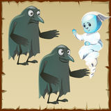 Two ghosts sad and cheerful with beak crows Stock Images