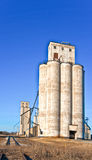 Two Giant Grain Elevators. Setting beside an abandoned rail road track stands two griant grain elevators constructed with cement Royalty Free Stock Photo