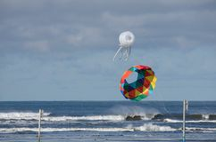 Two giant kites hanging on a beach near Ocean Shores, WA Royalty Free Stock Photography