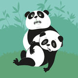 Two giant pandas. Giant Panda with a dying friend, illustration of endangered animals Stock Photos
