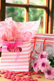 Two gift bags with pink candy around Royalty Free Stock Photography