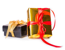 Two gift box bow red yellow black Stock Photos