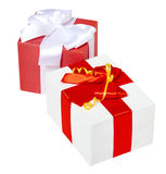 Two gift box decorated silk red ribbon and bow, object on white studio background isolated Stock Image