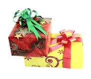 Two gift box with ribbon Royalty Free Stock Images