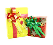 Two gift box with ribbon Royalty Free Stock Photo