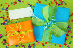 Two gift boxes with blank note Royalty Free Stock Photography