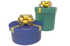 Two gift boxes in blue and green Royalty Free Stock Photo