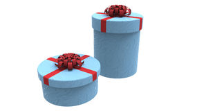Two gift boxes in blue Stock Photography