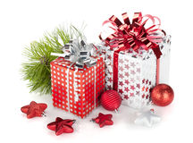 Two gift boxes and christmas decor Stock Photo