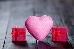 Two gift boxes and heart shape Royalty Free Stock Image