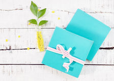 Two gift boxes with heart shaped pin and plant in vase Royalty Free Stock Photography