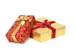 Two gift boxes isolated. On white background Stock Photos