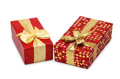 Two gift boxes isolated. On the white Stock Images
