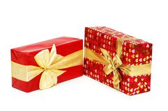 Two gift boxes isolated on whi Stock Photos