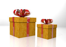 Two gift boxes with red ribbon Stock Photography