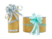 Two gift boxes with ribbon bows isolated Stock Images