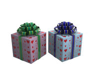 Two gift boxes with ribbons. 3D illustration. Two gift boxes with ribbons for male and female Stock Images