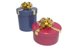 Two gift boxes with shiny bowknots Royalty Free Stock Photo