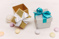 Two gift boxes on vintage wood table Royalty Free Stock Images