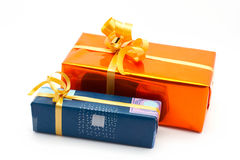 Two gift boxes white background Stock Photography