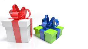 Two gift boxes on white surface - 3D rendering. Two gift boxes are on a white surface and white background. The bigger one is white with red bow; the smaller is Stock Photo