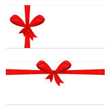 Two gift card with ribbon and satin red bow. Vector illustration Royalty Free Stock Image