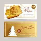 Two Gift Voucher design with 10% discount offer and decorative C. Hristmas ornaments in different color option stock illustration