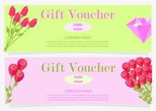 Two Gift Vouchers for 100 and 300 Dollars Flat. Two gift vouchers with red flowers and pink diamond for 100 and 300 dollars with name of company vector Stock Illustration