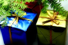 Two Gifts. Celebrating royalty free stock images