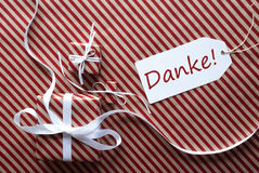 Two Gifts With Label, Danke Means Thank You Royalty Free Stock Photos