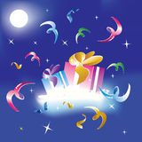 Two gifts in snow. At night under moon light Royalty Free Stock Images