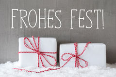 Two Gifts With Snow, Frohes Fest Means Merry Christmas Stock Photos