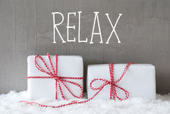 Two Gifts With Snow, Text Relax Royalty Free Stock Photography