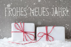Two Gifts With Snowflakes, Frohes Neues Means Happy New Year Royalty Free Stock Photos