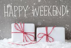 Two Gifts With Snowflakes, Text Happy Weekend Stock Photography