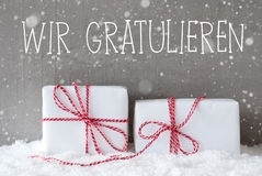 Two Gifts With Snowflakes, Wir Gratulieren Means Congratulations Royalty Free Stock Photography