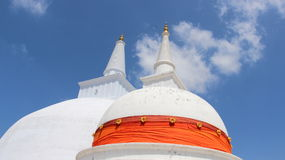 Two Gigantic White Buddhism Pagoda. Gigantic White Buddhism Pagoda Belief Of Buddhist In Sri Lanka Royalty Free Stock Images