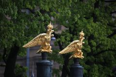 Two gilded double headed imperial eagle of the Transfiguration Cathedral wall on the background of green foliage royalty free stock photography