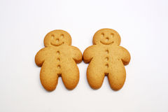 Two gingerbread cookies. For a friendship and love concept Royalty Free Stock Images