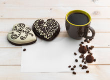 Two gingerbread cookies in the form of heart Royalty Free Stock Photos