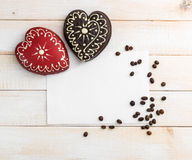 Two gingerbread cookies in the form of heart Stock Images