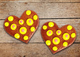 Two gingerbread hearts Royalty Free Stock Image