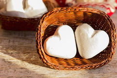 Two gingerbread hearts in a wicker basket. Photo for illustration of articles about Valentine`s Day Royalty Free Stock Image