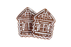 Two gingerbread  like a house. On an isolated background Royalty Free Stock Photos