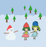 Two gir and snowman in Christmas background Royalty Free Stock Images